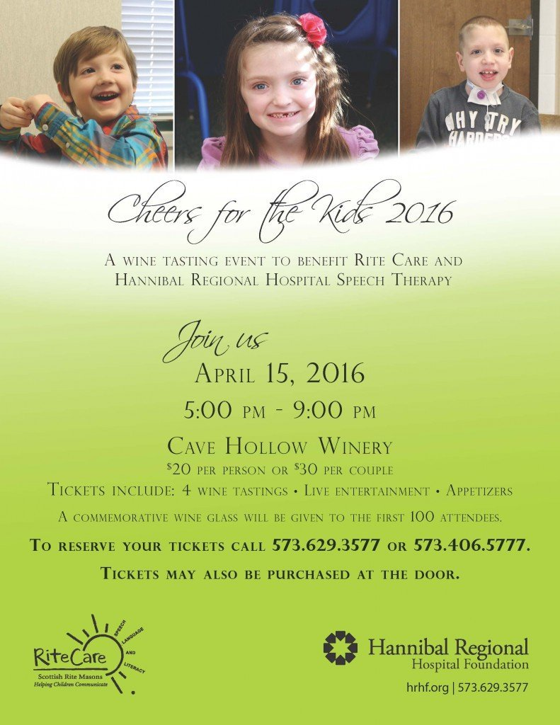 "Promotional flier for ""Cheers for the Kids 2016 - Hannibal RiteCare Fundraiser"""