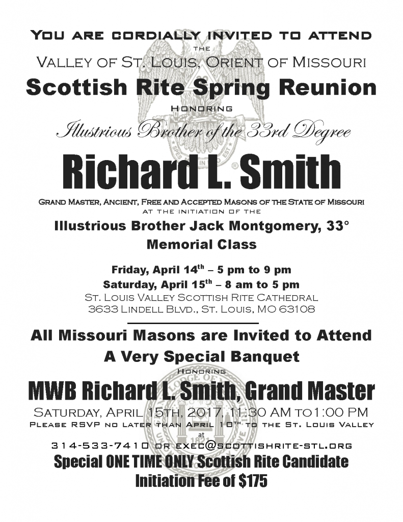 Valley of St. Louis Spring 2017 Reunion Honoring MWB Richard L. Smith on March 9, 2017