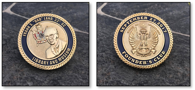 "Frank S. ""Dad"" Land Library and Museum - Founder's Club Challenge Coin"